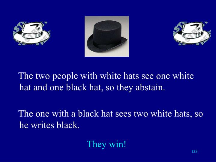 The two people with white hats see one white hat and one black hat, so they abstain.