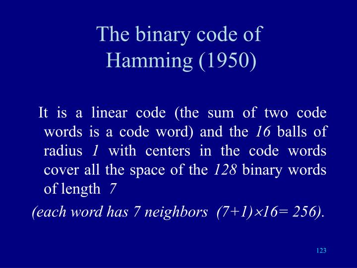 The binary code of
