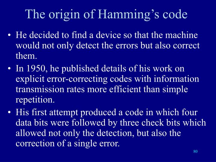 The origin of Hamming's code