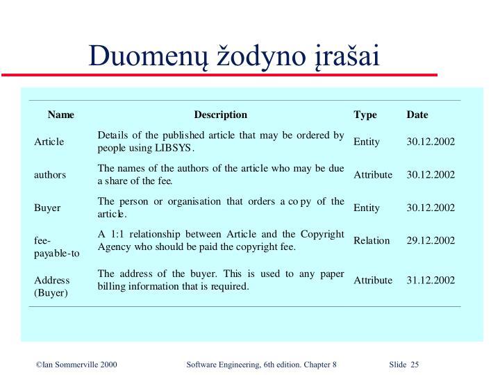 Duomenų žodyno įrašai