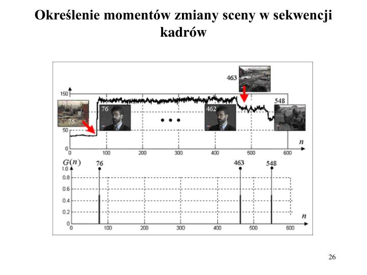Określenie momentów zmiany sceny w sekwencji kadrów