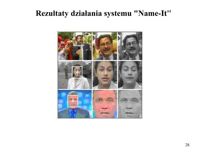 """Rezultaty działania systemu """"Name-It"""""""