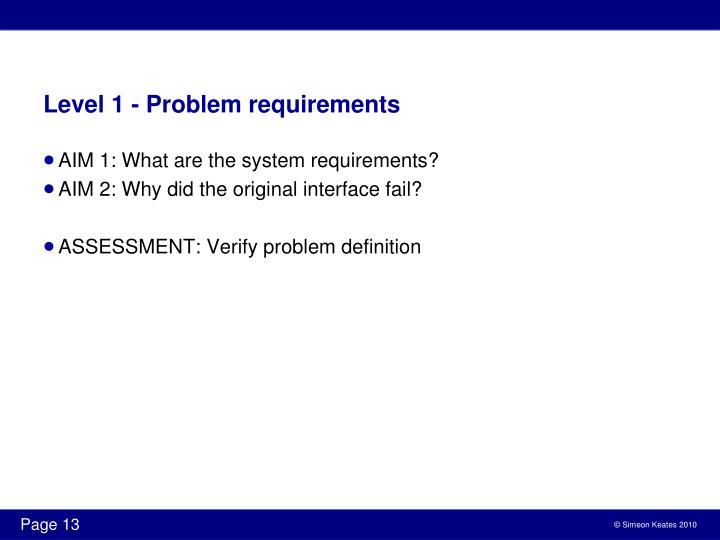 Level 1 - Problem requirements