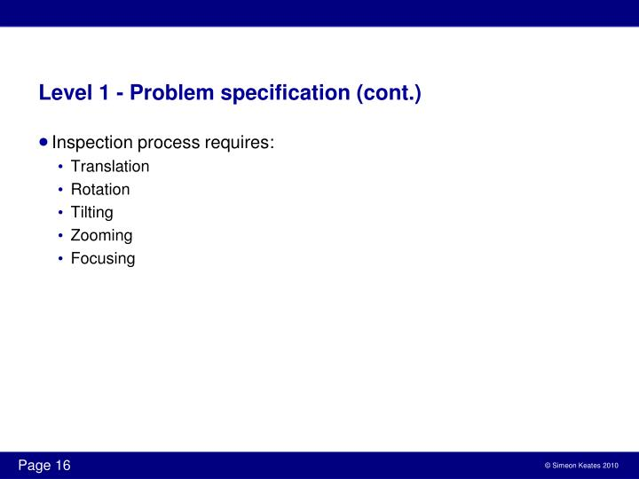 Level 1 - Problem specification (cont.)