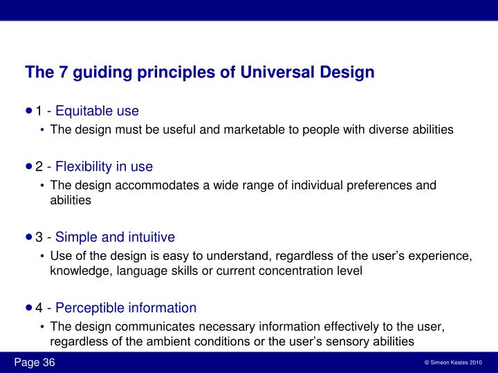 The 7 guiding principles of Universal Design