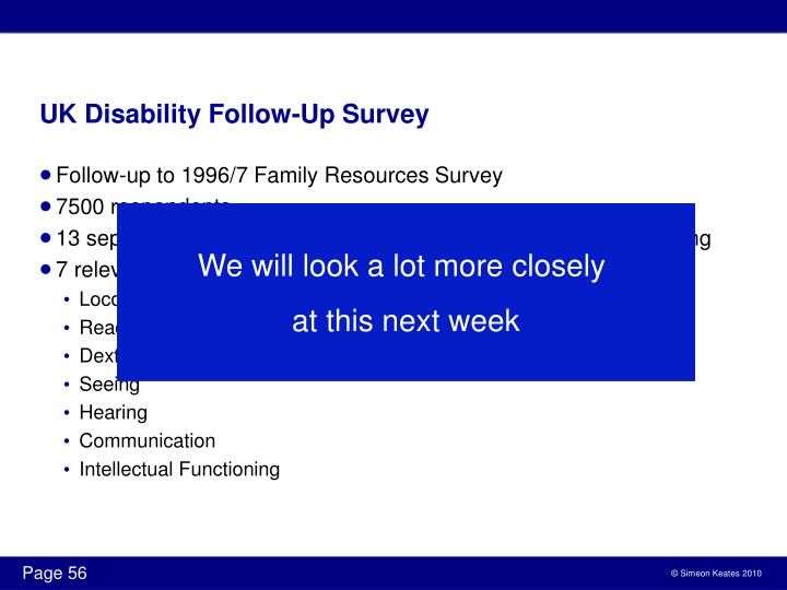 UK Disability Follow-Up Survey