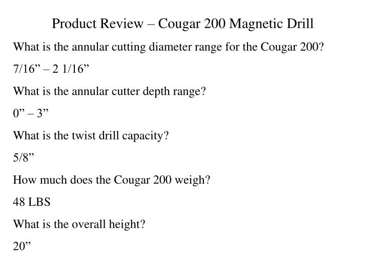 Product Review – Cougar 200 Magnetic Drill