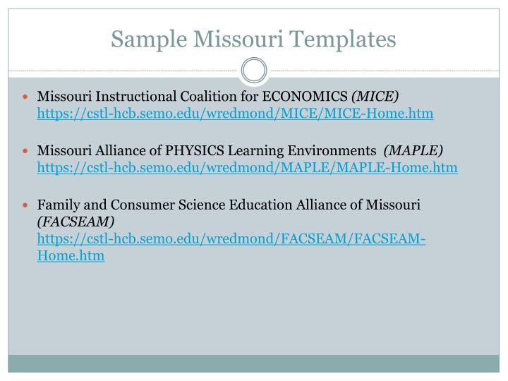 Sample Missouri Templates