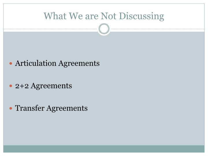 What We are Not Discussing