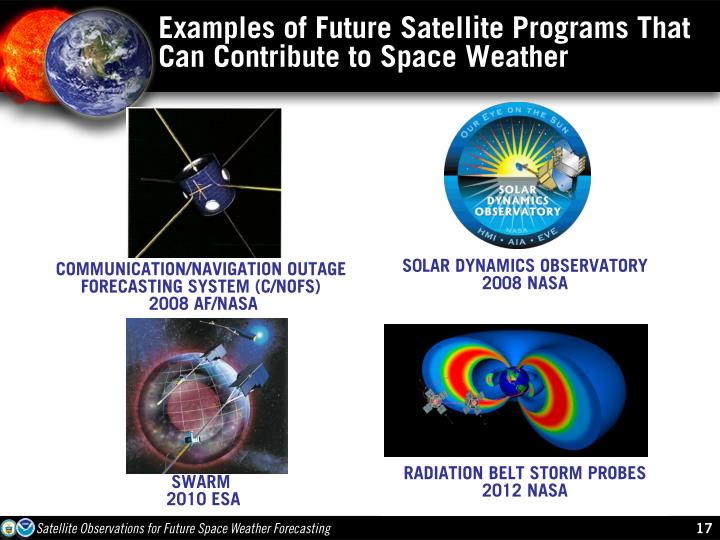 Examples of Future Satellite Programs That Can Contribute to Space Weather