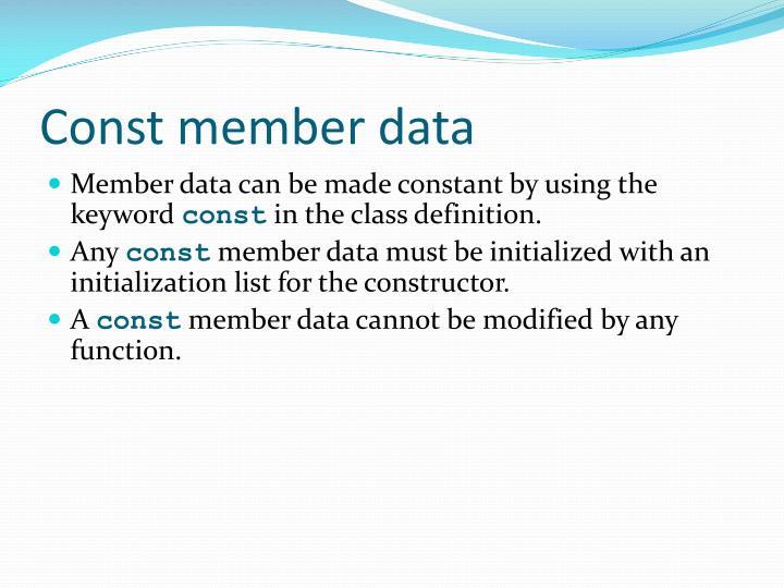 Const member data