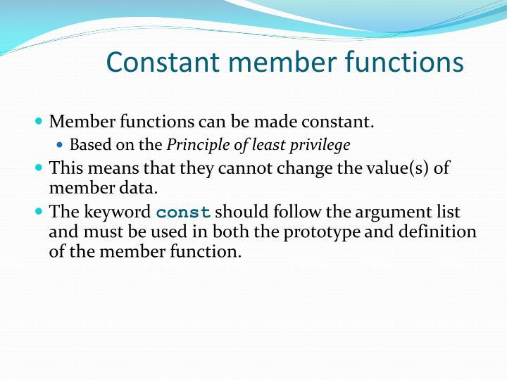 Constant member functions