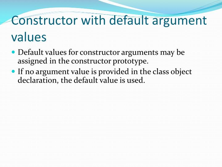 Constructor with default argument values