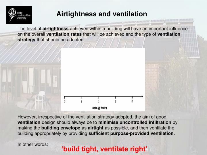 Airtightness and ventilation