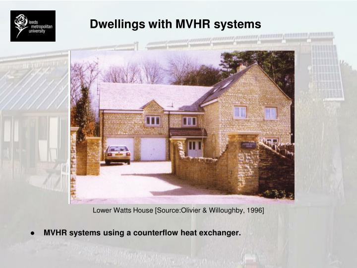 Dwellings with MVHR systems
