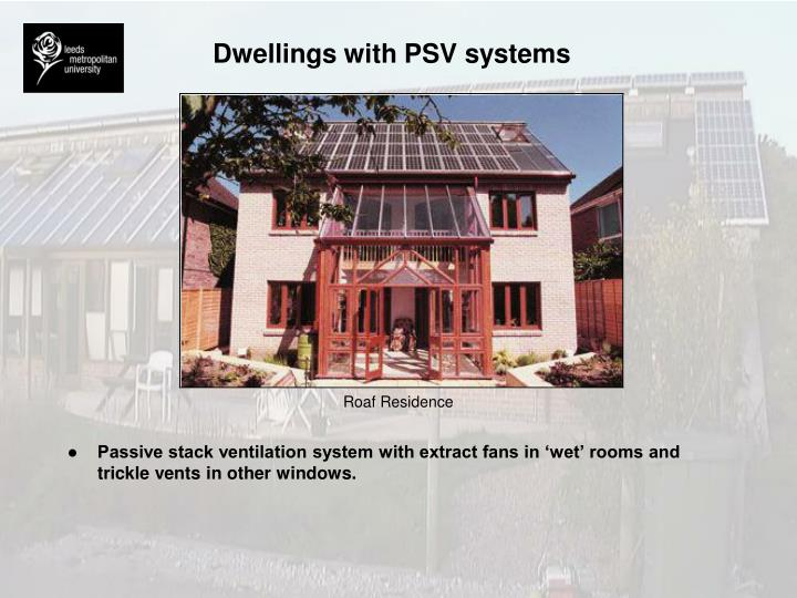 Dwellings with PSV systems