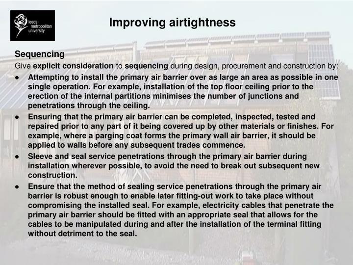 Improving airtightness