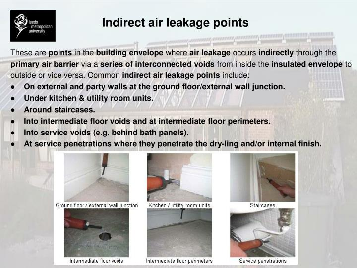 Indirect air leakage points