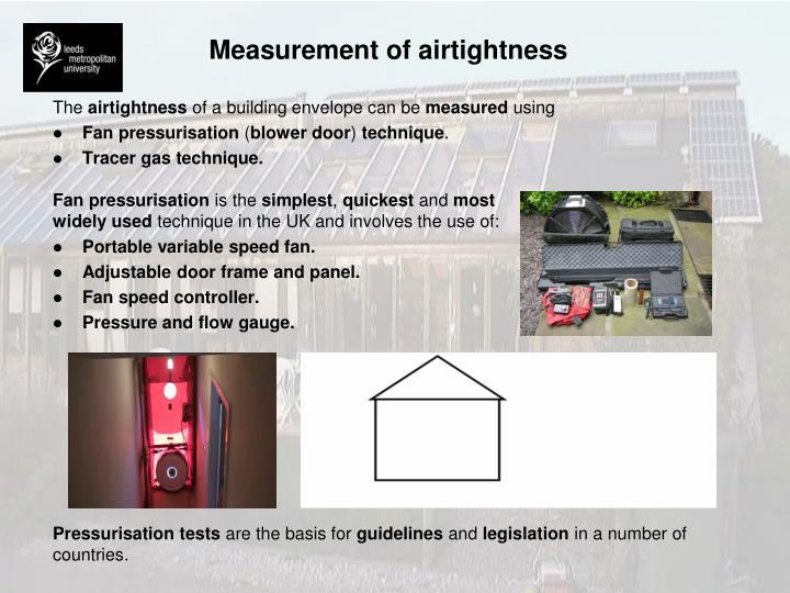 Measurement of airtightness