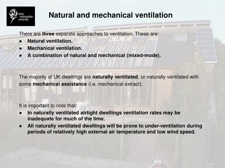 Natural and mechanical ventilation