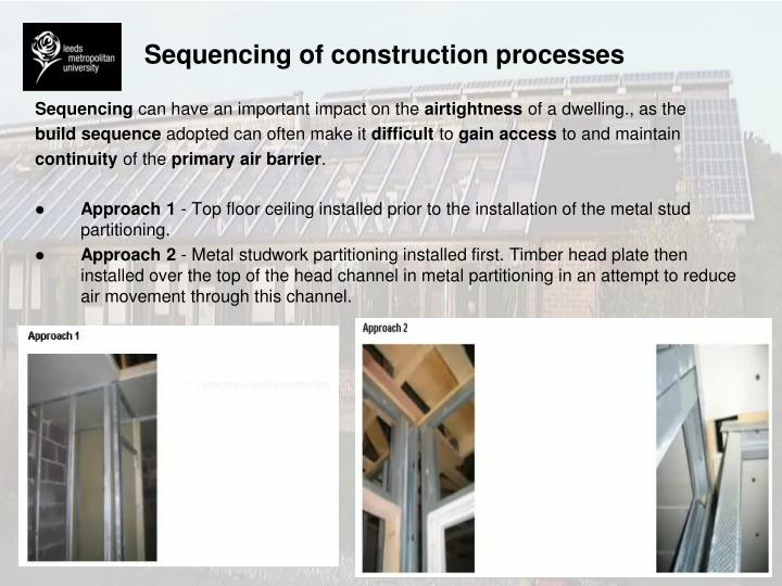 Sequencing of construction processes