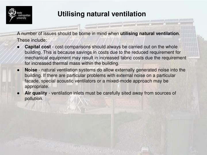 Utilising natural ventilation