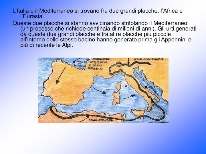 L'Italia e il Mediterraneo si trovano fra due grandi placche: l'Africa e l'Eurasia.