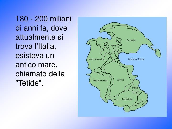 """180 - 200 milioni di anni fa, dove attualmente si trova l'Italia, esisteva un antico mare, chiamato della """"Tetide""""."""