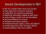 recent developments in p t