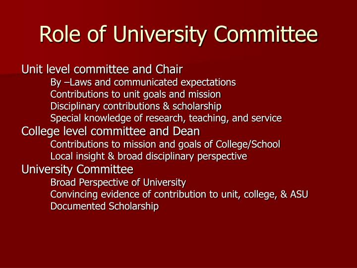 Role of University Committee