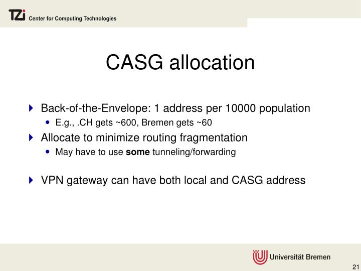 CASG allocation