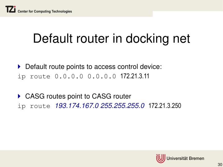 Default router in docking net