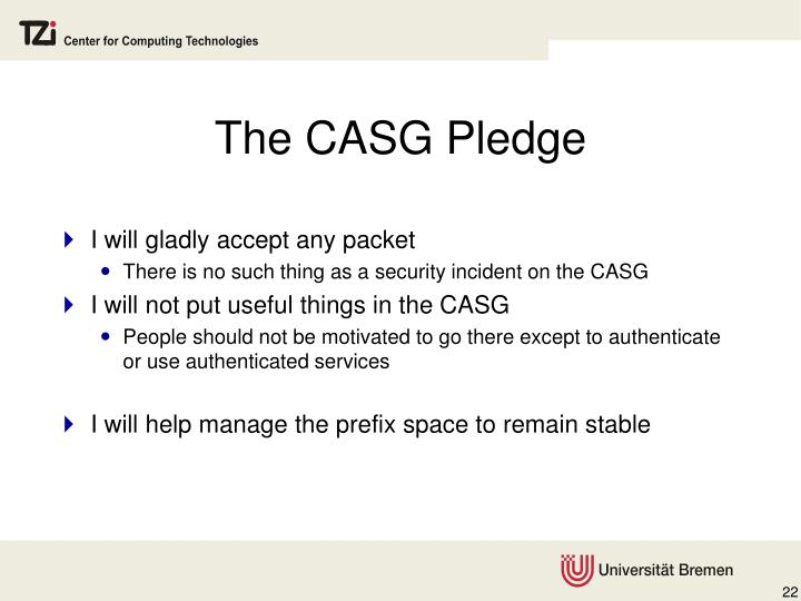 The CASG Pledge