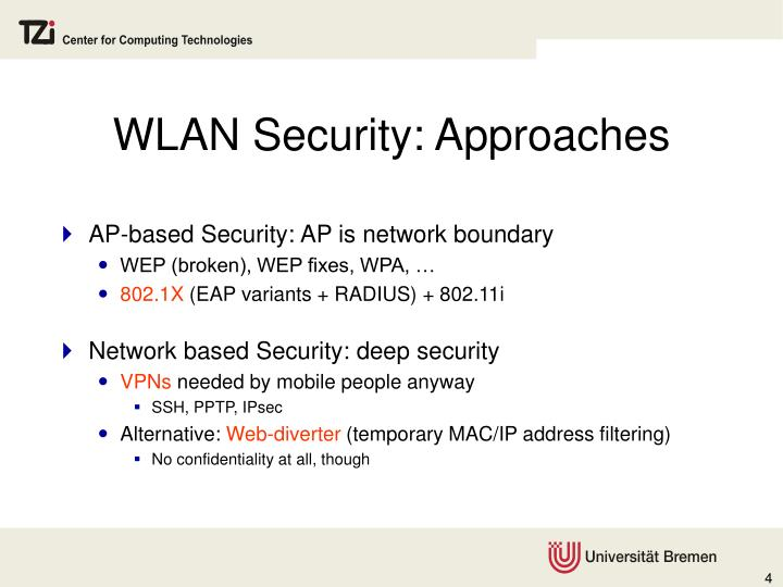 WLAN Security: Approaches