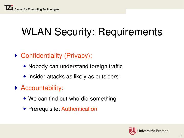 WLAN Security: Requirements