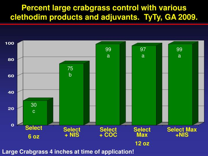 Percent large crabgrass control with various clethodim products and adjuvants.  TyTy, GA 2009.