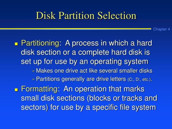 Disk Partition Selection