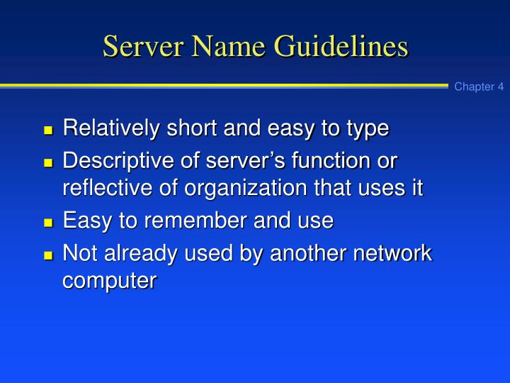 Server Name Guidelines