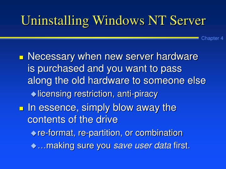 Uninstalling Windows NT Server