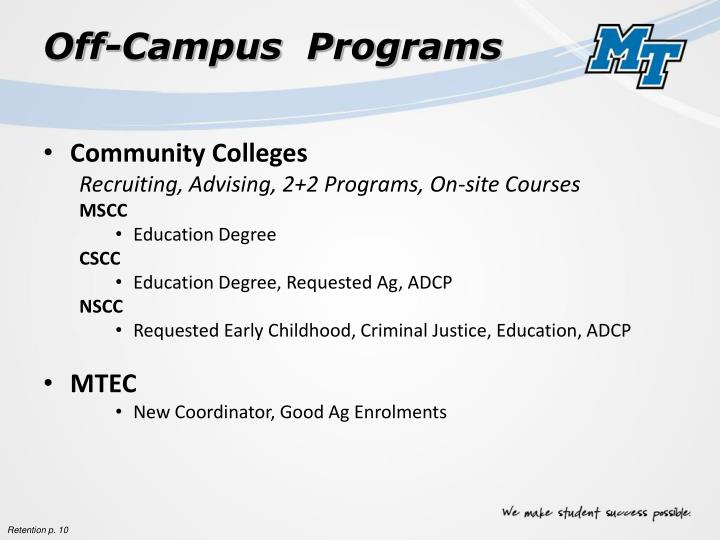 Off-Campus  Programs