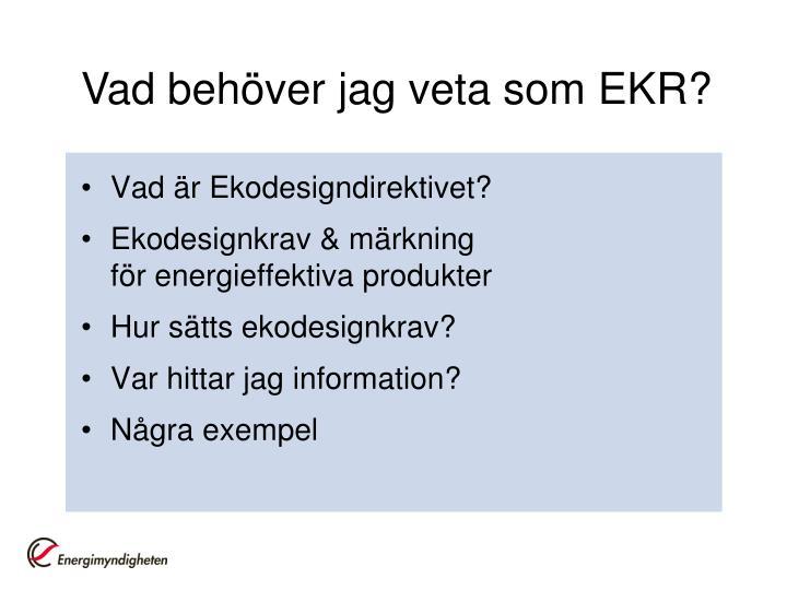 Vad behöver jag veta som EKR?