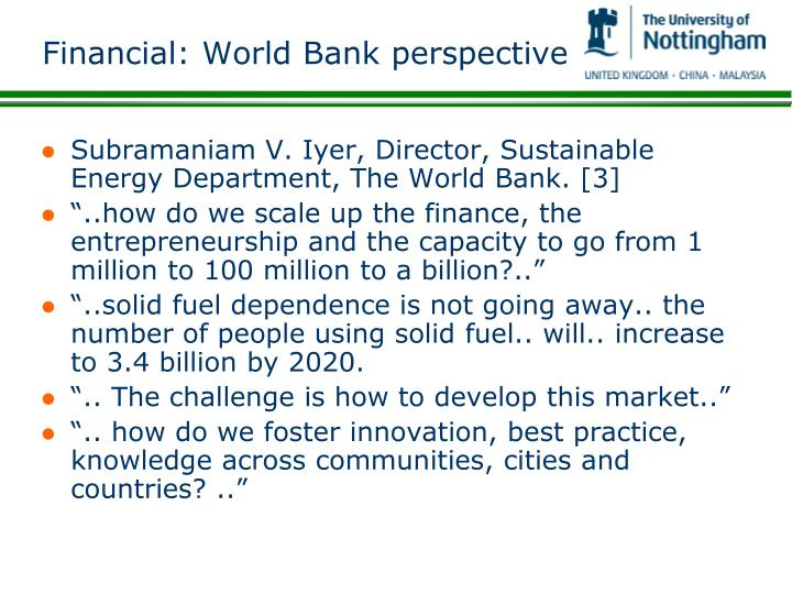 Financial: World Bank perspective