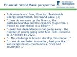 financial world bank perspective