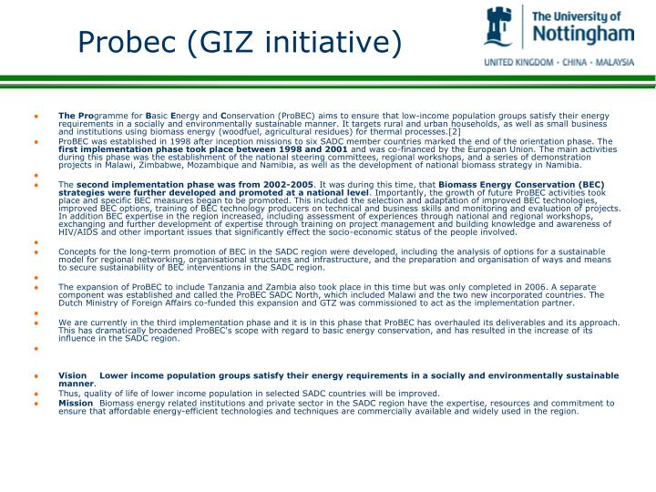 Probec (GIZ initiative)