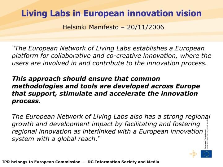 Living Labs in European innovation vision