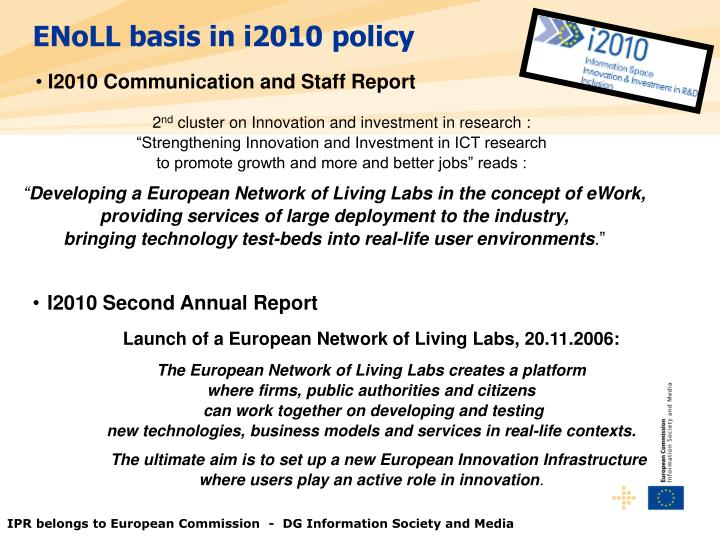 ENoLL basis in i2010 policy