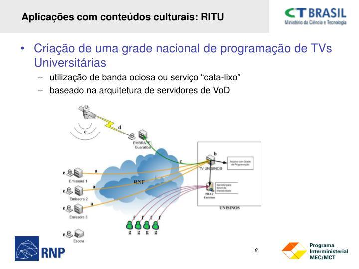 Aplicações com conteúdos culturais: RITU