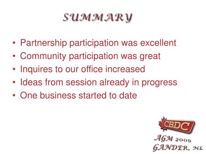 Partnership participation was excellent