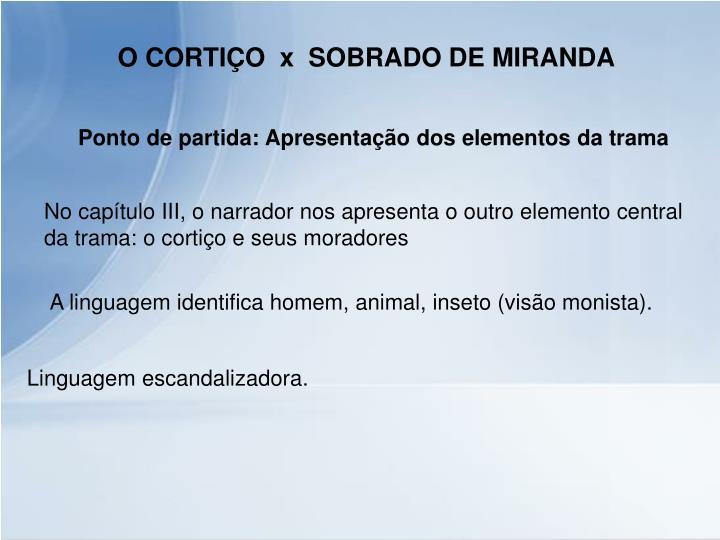 O CORTIÇO  x  SOBRADO DE MIRANDA