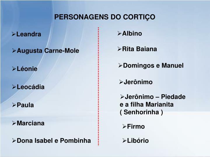 PERSONAGENS DO CORTIÇO